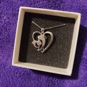 White Gold plated sterling silver dolphin necklace
